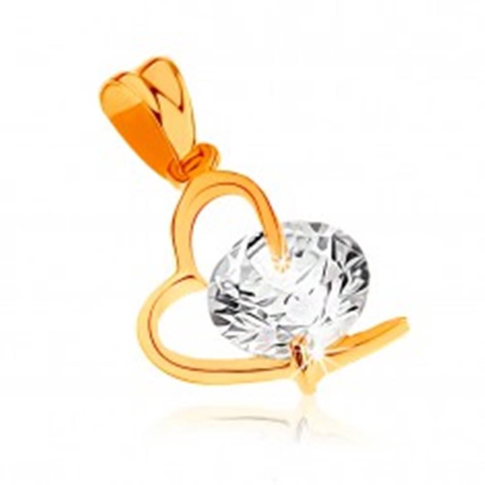 Šperky eshop Prívesok zo žltého 9K zlata - kontúra asymetrického srdca, veľký číry zirkón