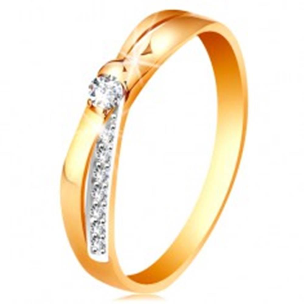 Šperky eshop Prsteň v 14K zlate - rozdvojené prekrížené línie ramien, okrúhle číre zirkóny - Veľkosť: 48 mm