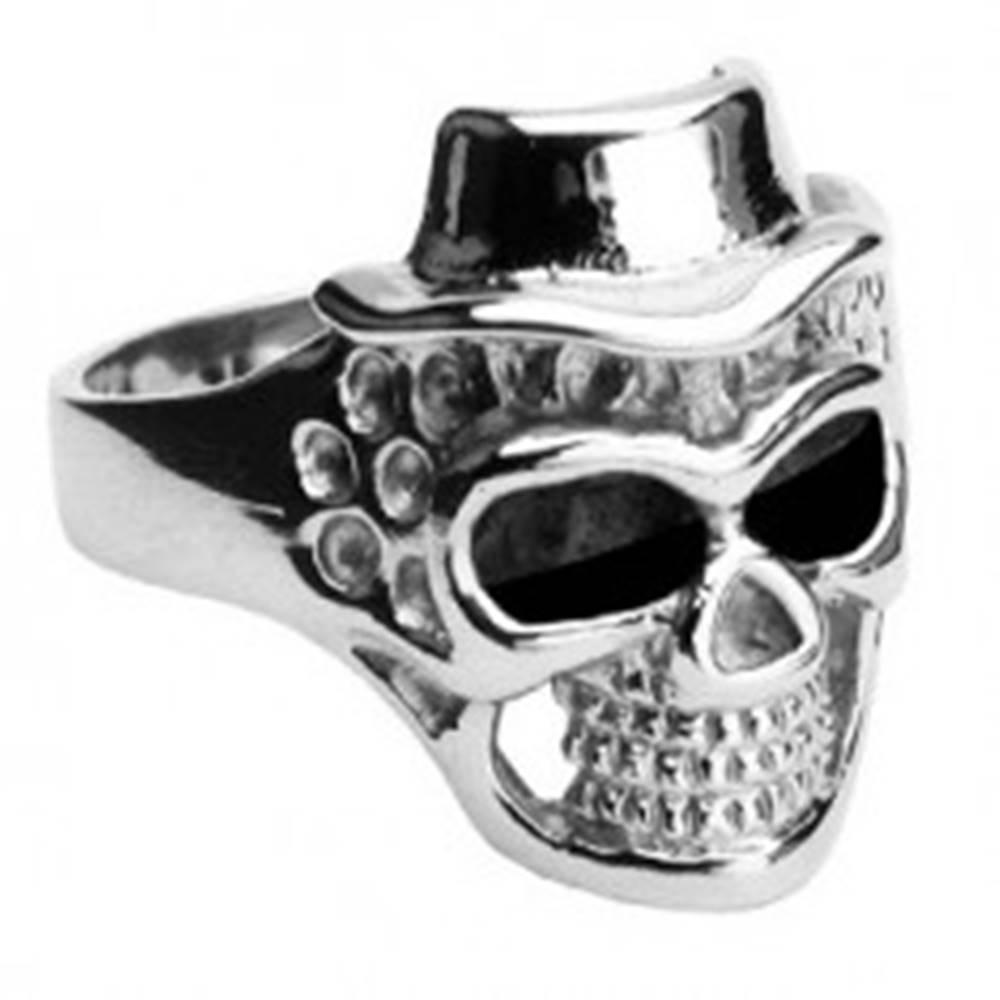 Šperky eshop Prsteň z chirurgickej ocele - lebka s klobúkom - Veľkosť: 57 mm