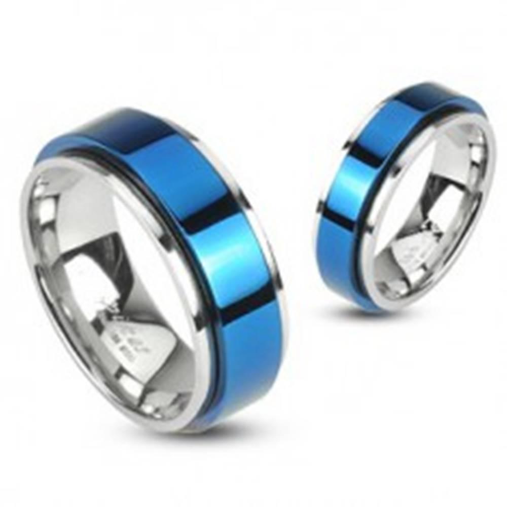 Šperky eshop Prsteň z ocele otáčavý - modrý - Veľkosť: 48 mm