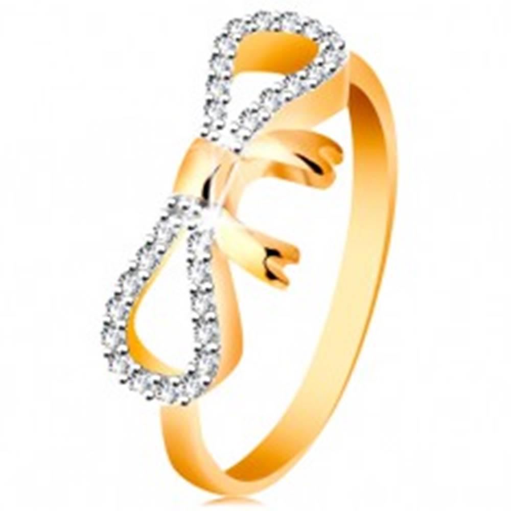Šperky eshop Prsteň zo 14K zlata - zirkónmi a bielym zlatom zdobená mašlička, úzke ramená - Veľkosť: 49 mm