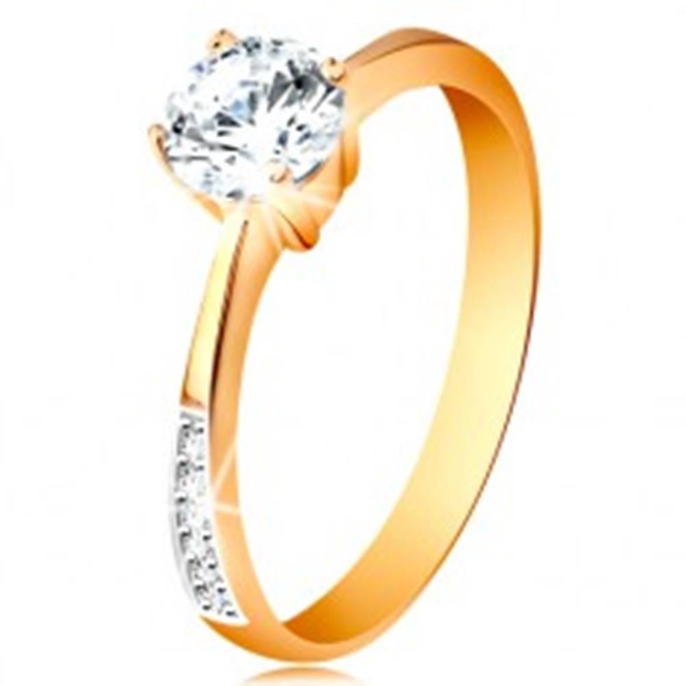 Šperky eshop Prsteň zo 14K zlata - zúžené ramená so zirkónovými líniami, číry zirkón v kotlíku - Veľkosť: 49 mm