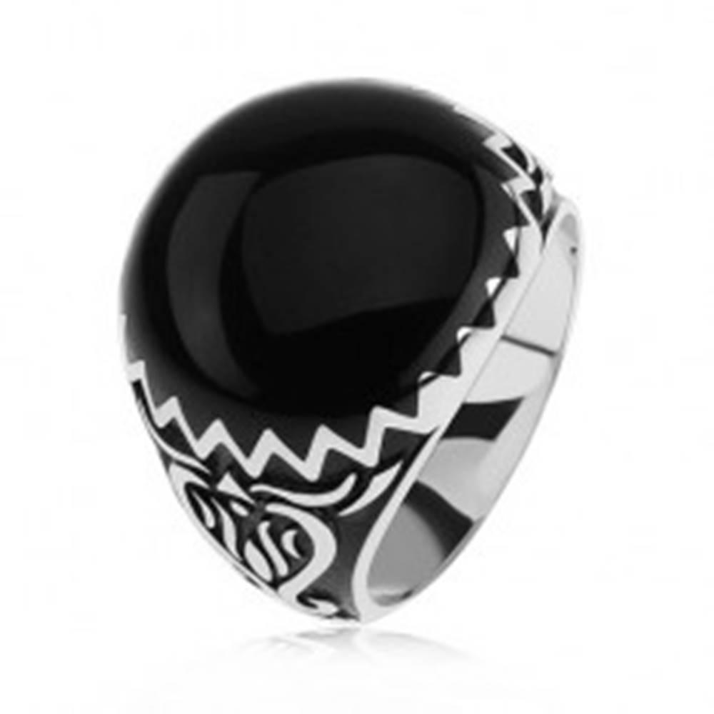 Šperky eshop Prsteň zo striebra 925, čierne zdobenie, cik cak vzor a ornamenty - Veľkosť: 54 mm
