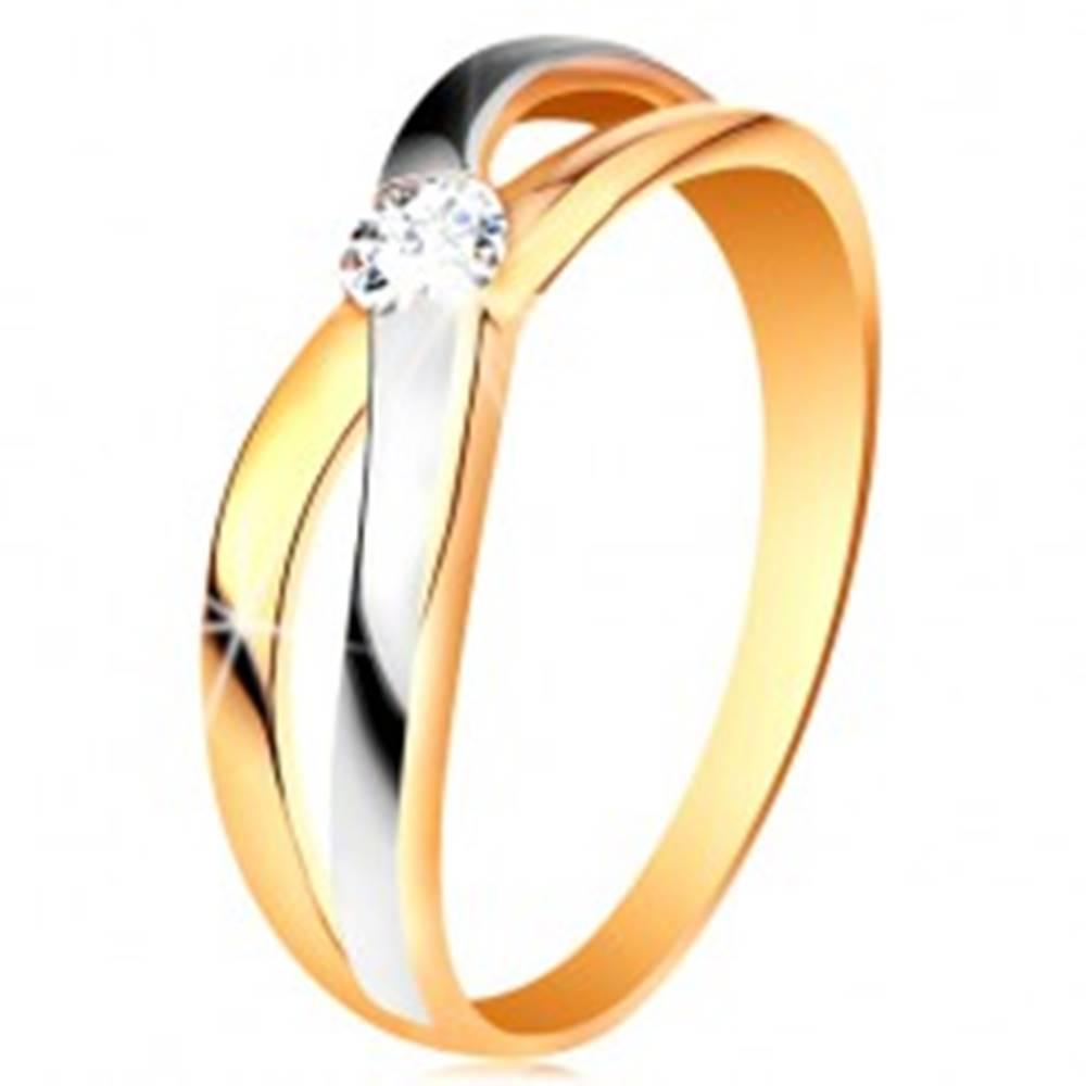 Šperky eshop Prsteň zo zlata 585 - okrúhly zirkón čírej farby, rozdelené prekrížené ramená - Veľkosť: 49 mm