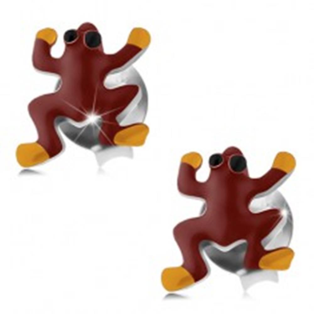 Šperky eshop Puzetové náušnice, striebro 925, červeno-žltá žabka s čiernymi očkami