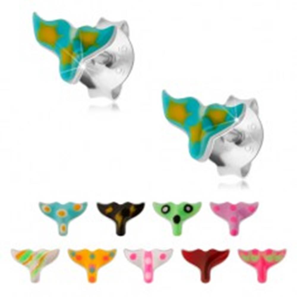 Šperky eshop Puzetové náušnice, striebro 925, glazúrovaný rybí chvost, rôzne farby - Farba: Biela