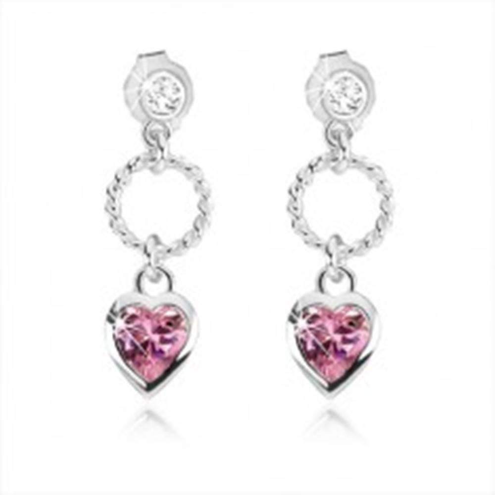 Šperky eshop Puzetové náušnice zo striebra 925, ozdobný kruh, ružové zirkónové srdce