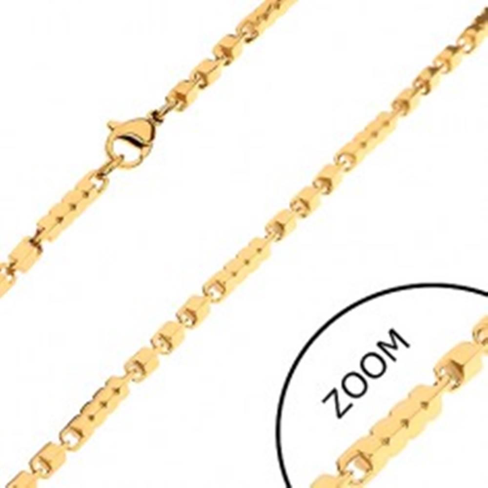 Šperky eshop Retiazka z chirurgickej ocele zlatej farby, dlhšie a kratšie hranaté články, 3 mm