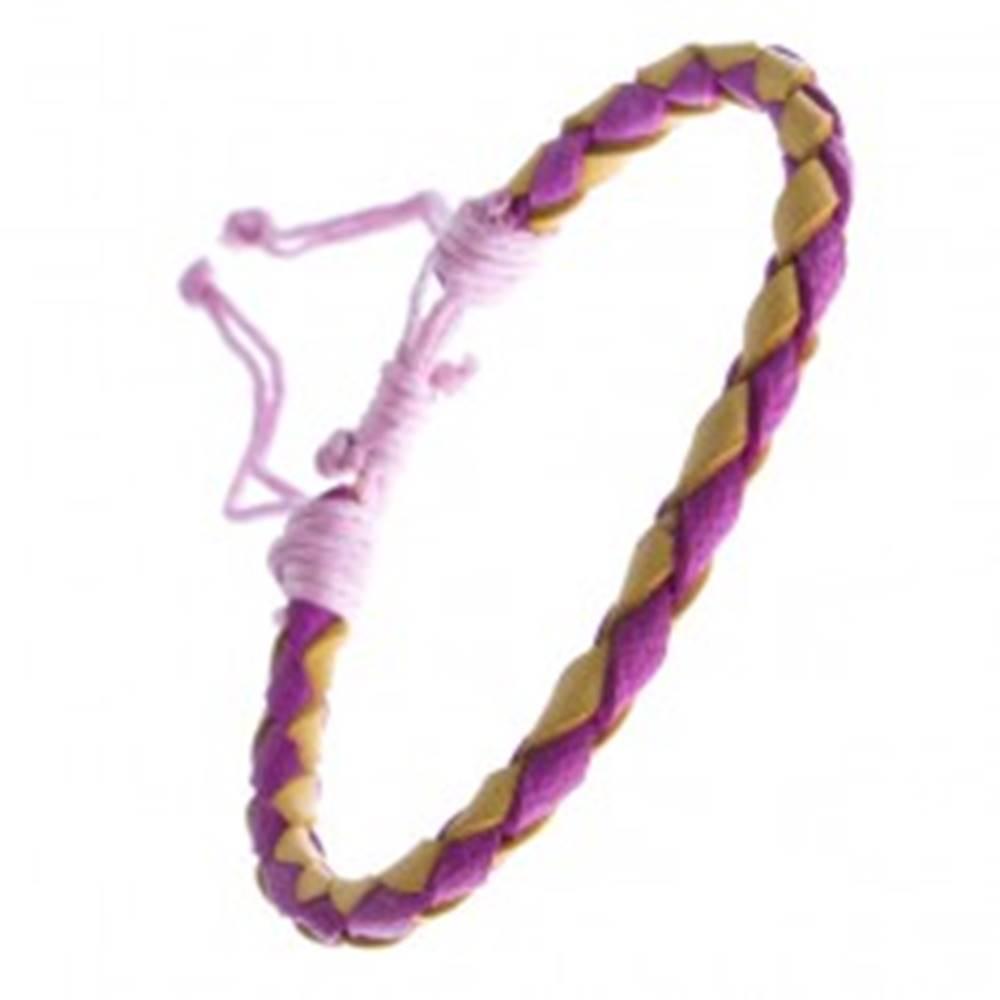 Šperky eshop Ružovo-žltý náramok z kože, pletený so šnúrkami