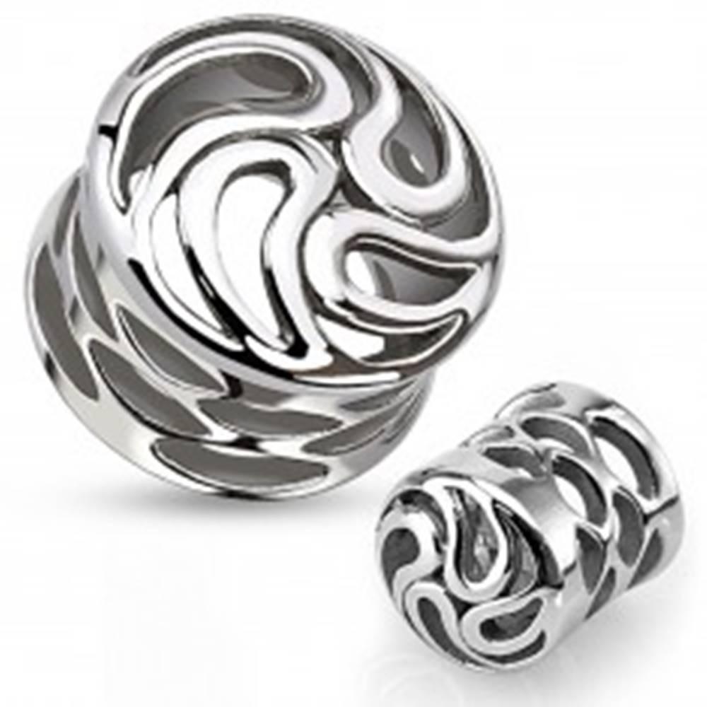 Šperky eshop Sedlový plug do ucha z chirurgickej ocele striebornej farby, vír z kvapiek, výrezy - Hrúbka: 12 mm