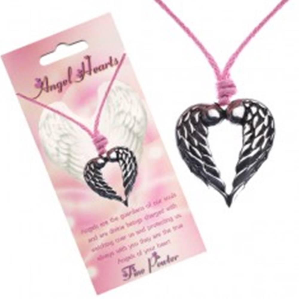 Šperky eshop Šnúrkový náhrdelník, prívesok srdca s dotýkajúcimi sa krídlami