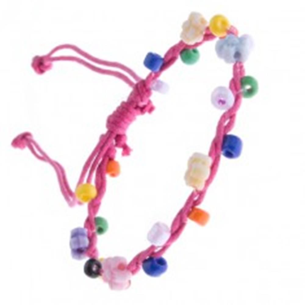 Šperky eshop Šnúrkový náramok - ružový s farebnými korálikmi a kvietkami