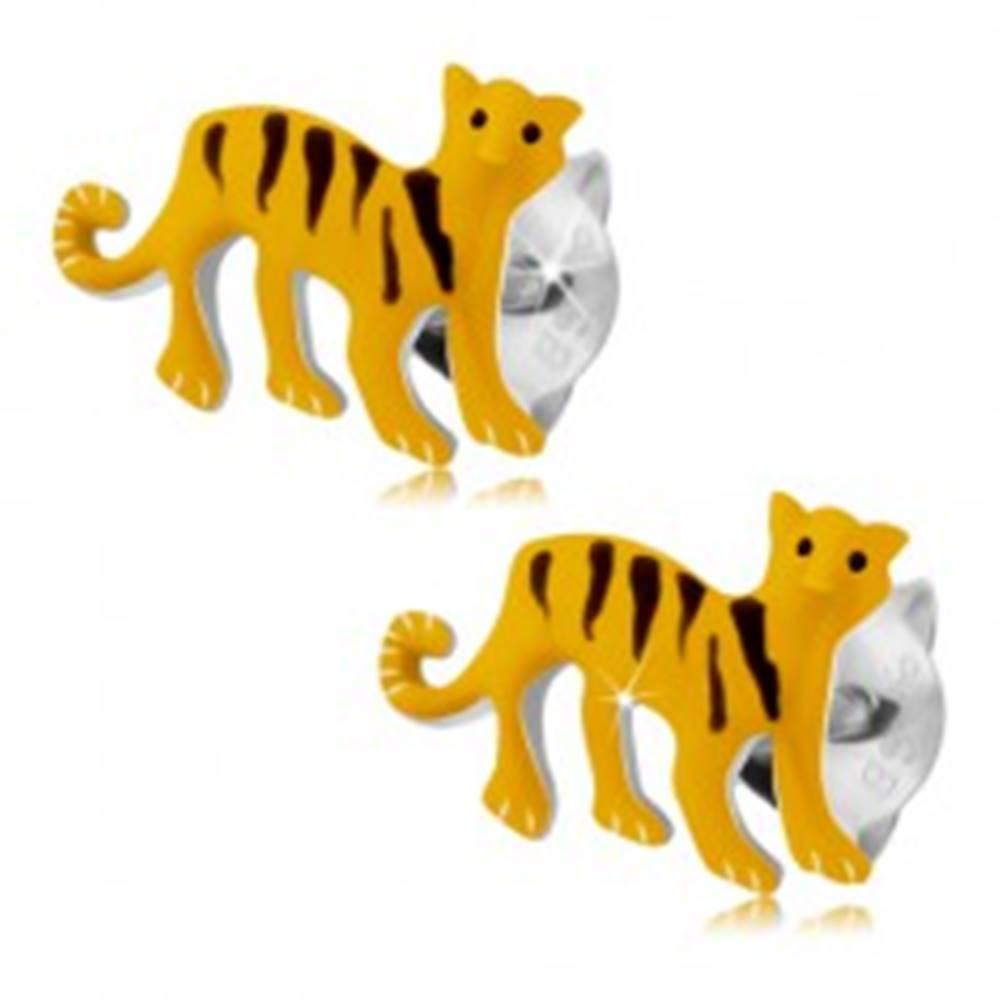 Šperky eshop Strieborné 925 náušnice, žltý tiger s čiernymi prúžkami, puzetky