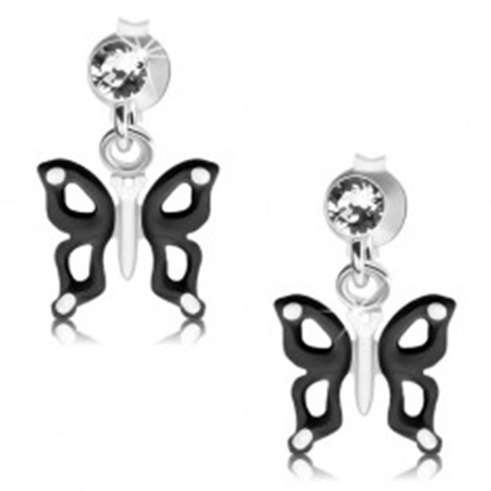Šperky eshop Strieborné náušnice 925, čierno-biely motýlik s výrezmi na krídlach, krištáľ