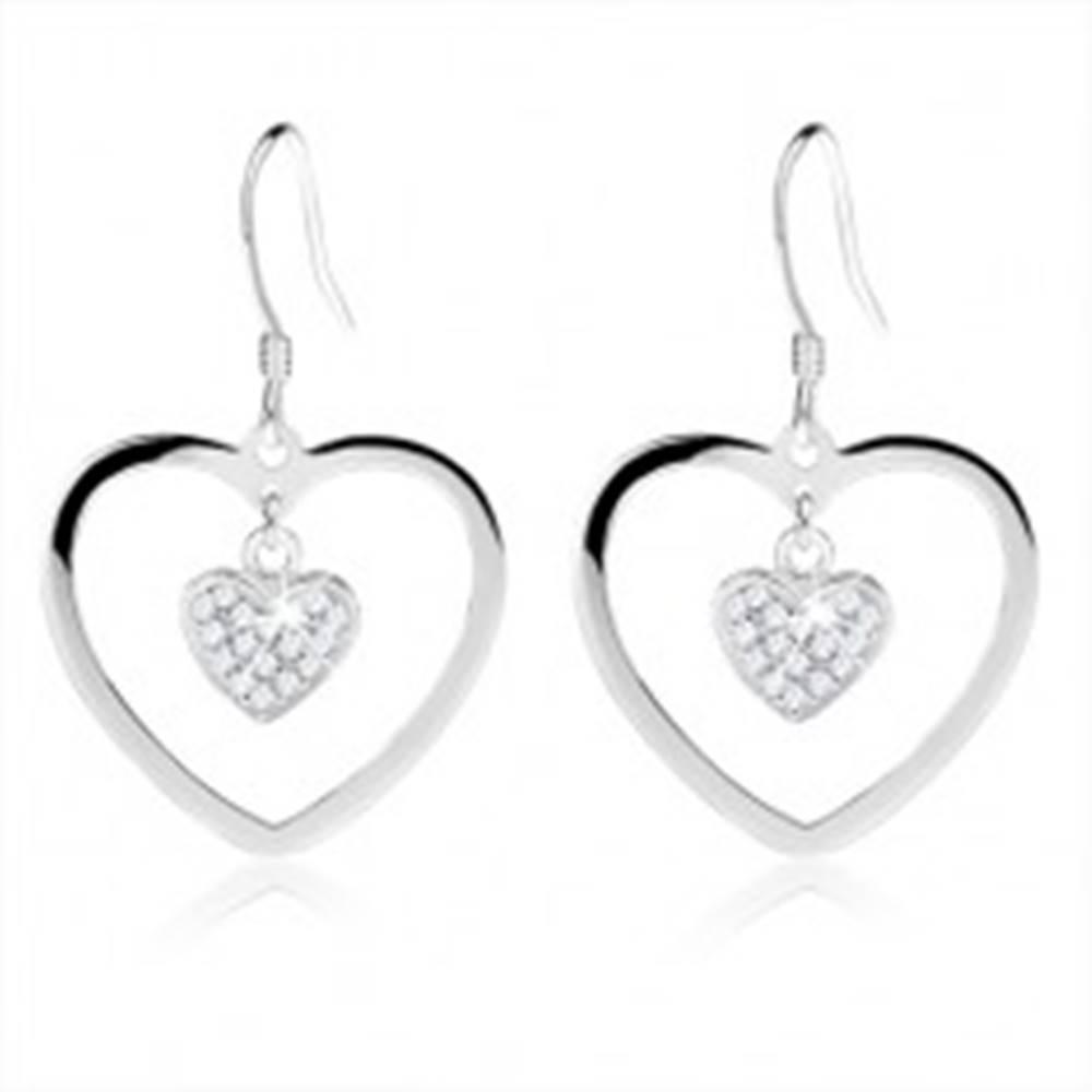Šperky eshop Strieborné náušnice 925, kontúra srdca, zirkónové srdiečko, afroháčik