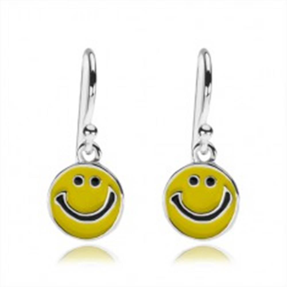 Šperky eshop Strieborné náušnice 925, plochý prívesok - žltý usmievavý smajlík
