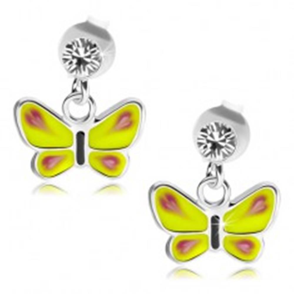Šperky eshop Strieborné náušnice 925, žltý motýľ, číry Swarovského krištálik
