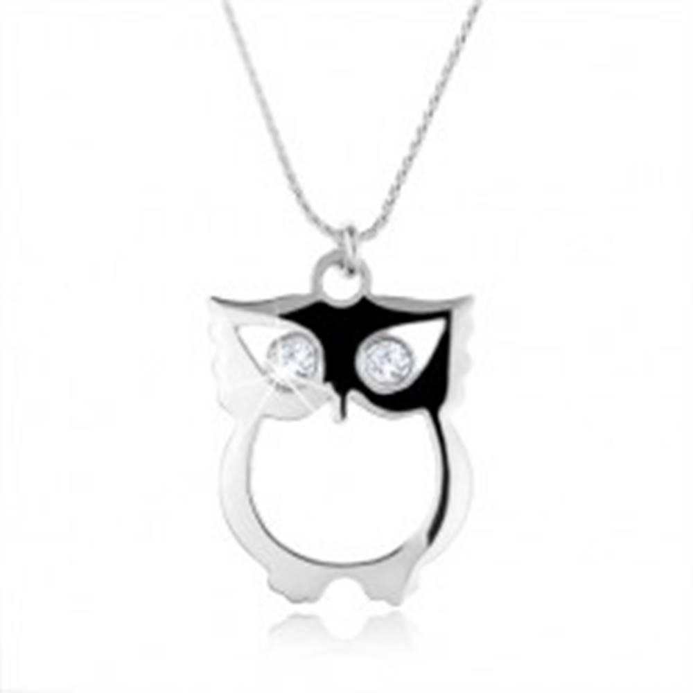 Šperky eshop Strieborný 925 náhrdelník, retiazka a múdra sova so zirkónovými očkami