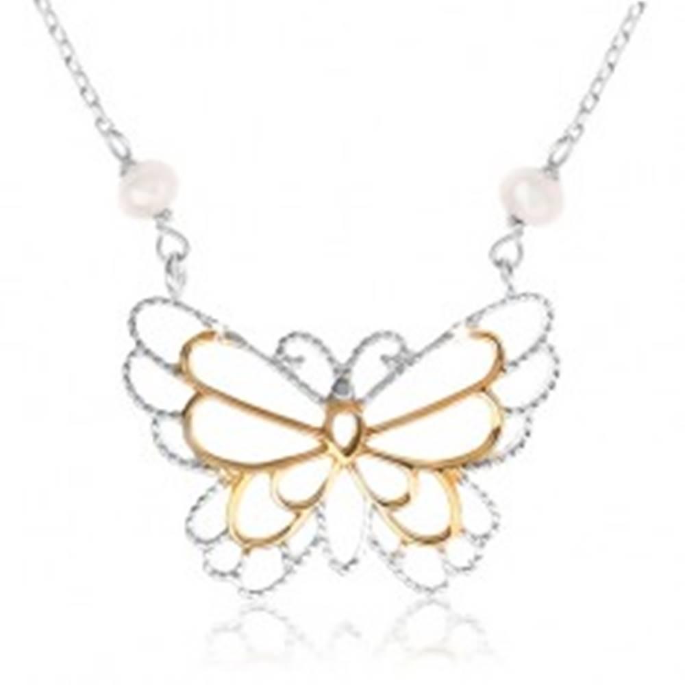 Šperky eshop Strieborný náhrdelník 925, kontúra motýlika, vložené perleťové guličky