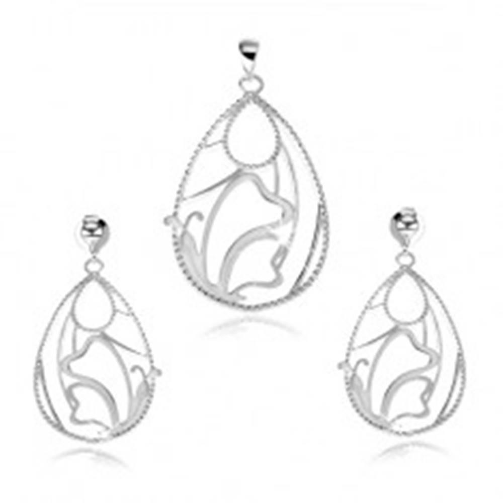 Šperky eshop Strieborný set 925 - prívesok a náušnice, obrys kvapky, motýľ
