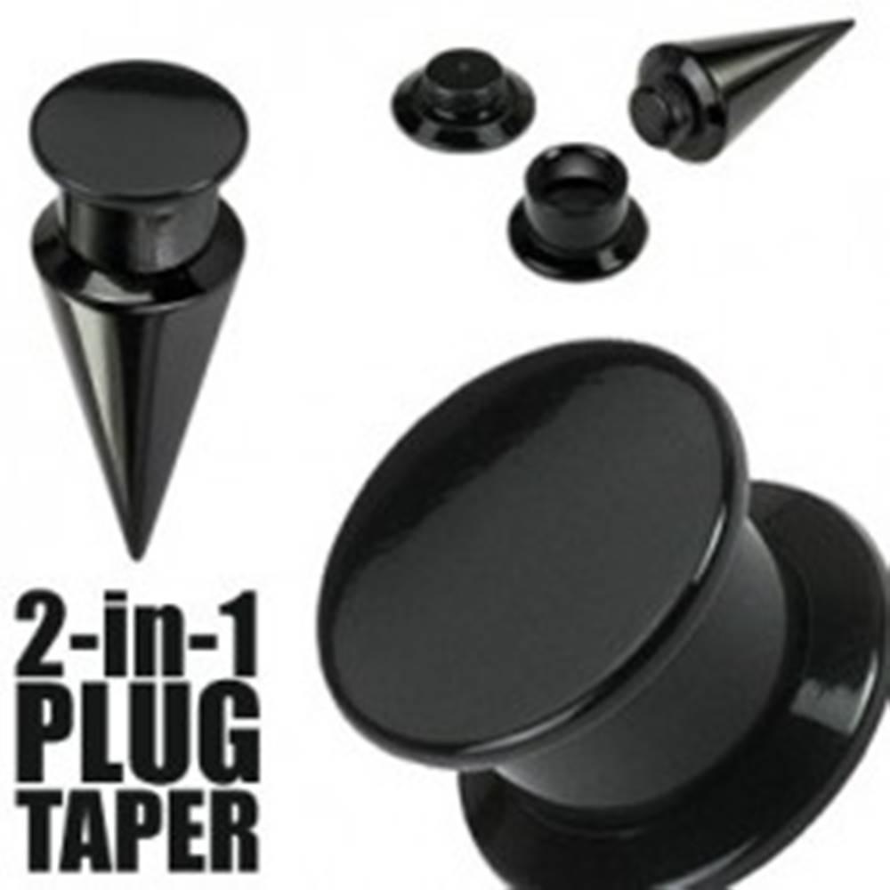 Šperky eshop Taper a plug 2 v 1 čierny - Hrúbka: 10 mm