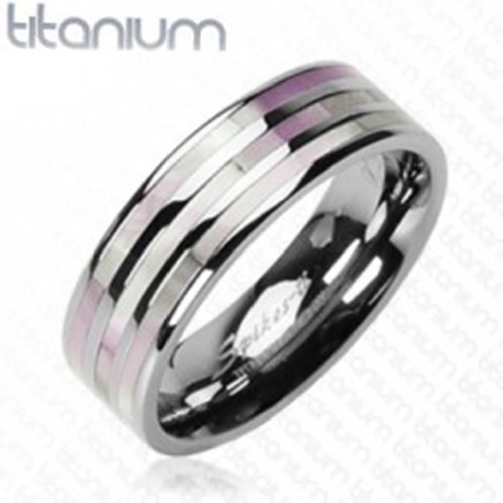 Šperky eshop Titánový prsteň - tri perlové pruhy - Veľkosť: 59 mm