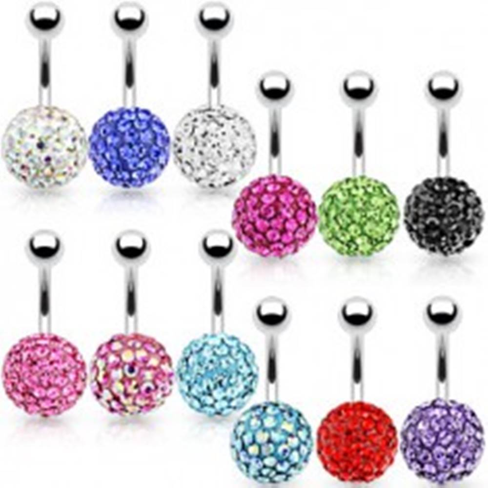 Šperky eshop Trblietavý piercing do pupka z ocele, dve guličky, farebné zirkóny - Farba zirkónu: Aqua modrá - Q