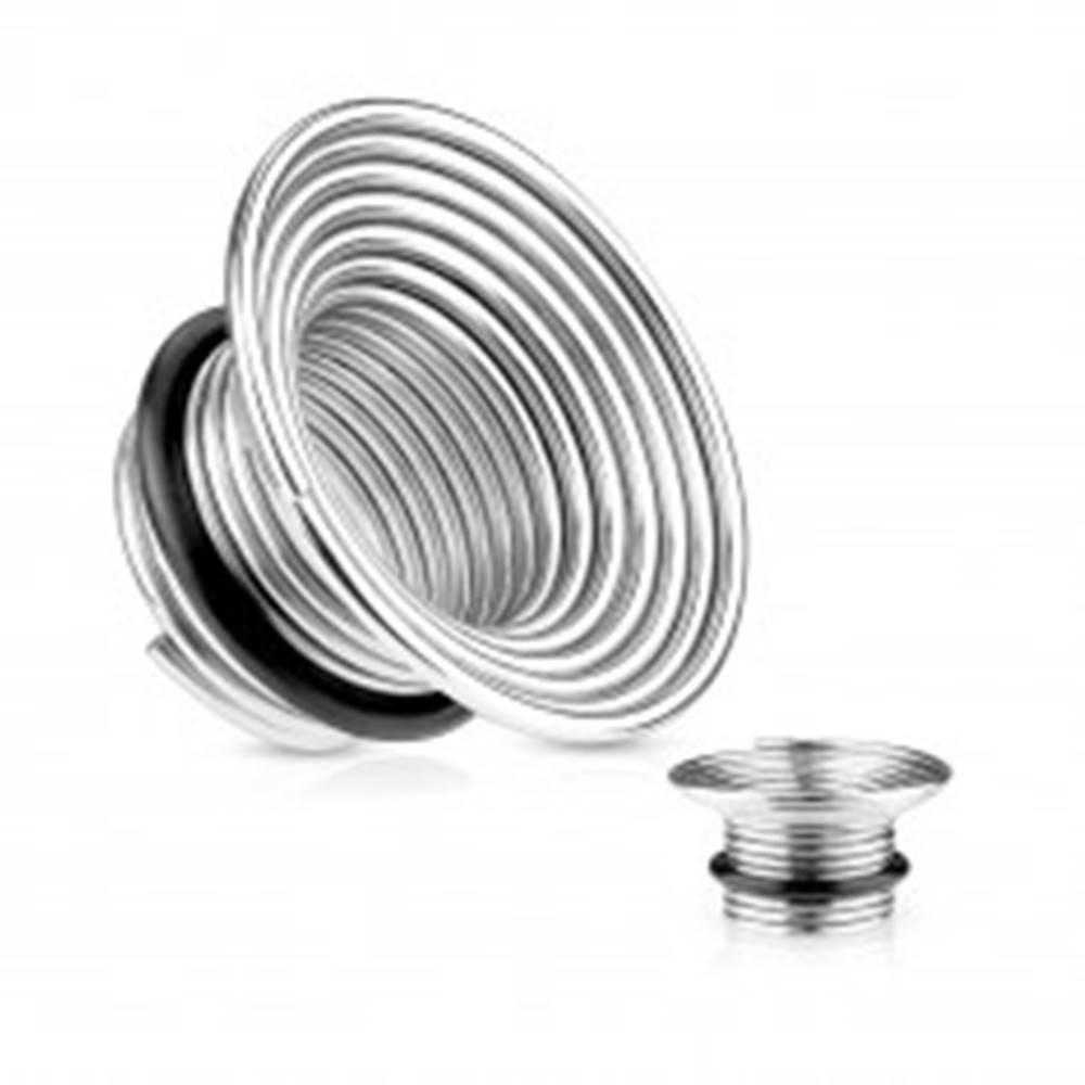 Šperky eshop Tunel do ucha z chirurgickej ocele, strieborná farba, špirála s gumičkou - Hrúbka: 10 mm