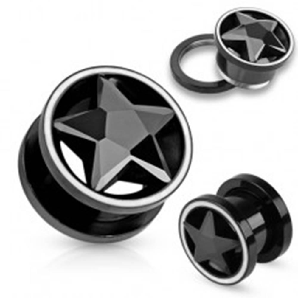Šperky eshop Tunel plug z ocele čiernej farby, zirkónová brúsená hviezda, biely lem - Hrúbka: 10 mm