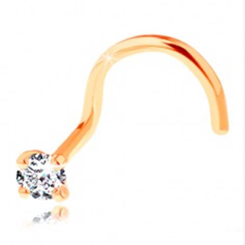 Šperky eshop Zahnutý piercing do nosa v žltom 14K zlate - ligotavý číry diamant, 2 mm