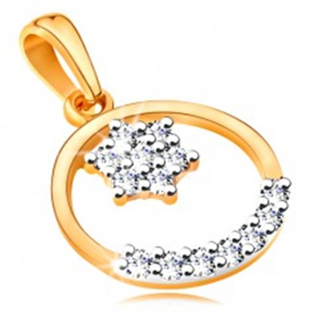 Šperky eshop Zlatý 14K prívesok - tenká obruč, ligotavý kvietok a oblúk z čírych zirkónikov
