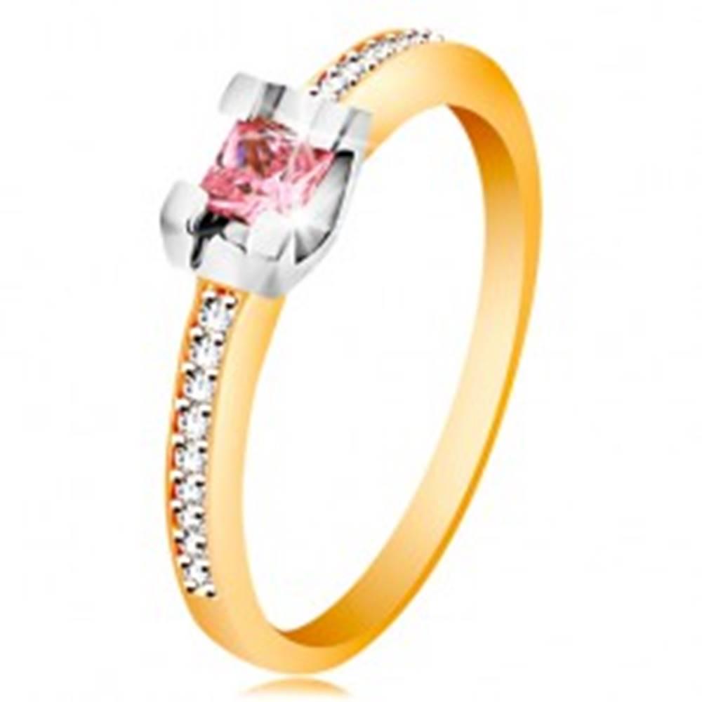 Šperky eshop Zlatý 14K prsteň - trblietavé ramená, okrúhly ružový zirkón v kotlíku z bieleho zlata - Veľkosť: 49 mm