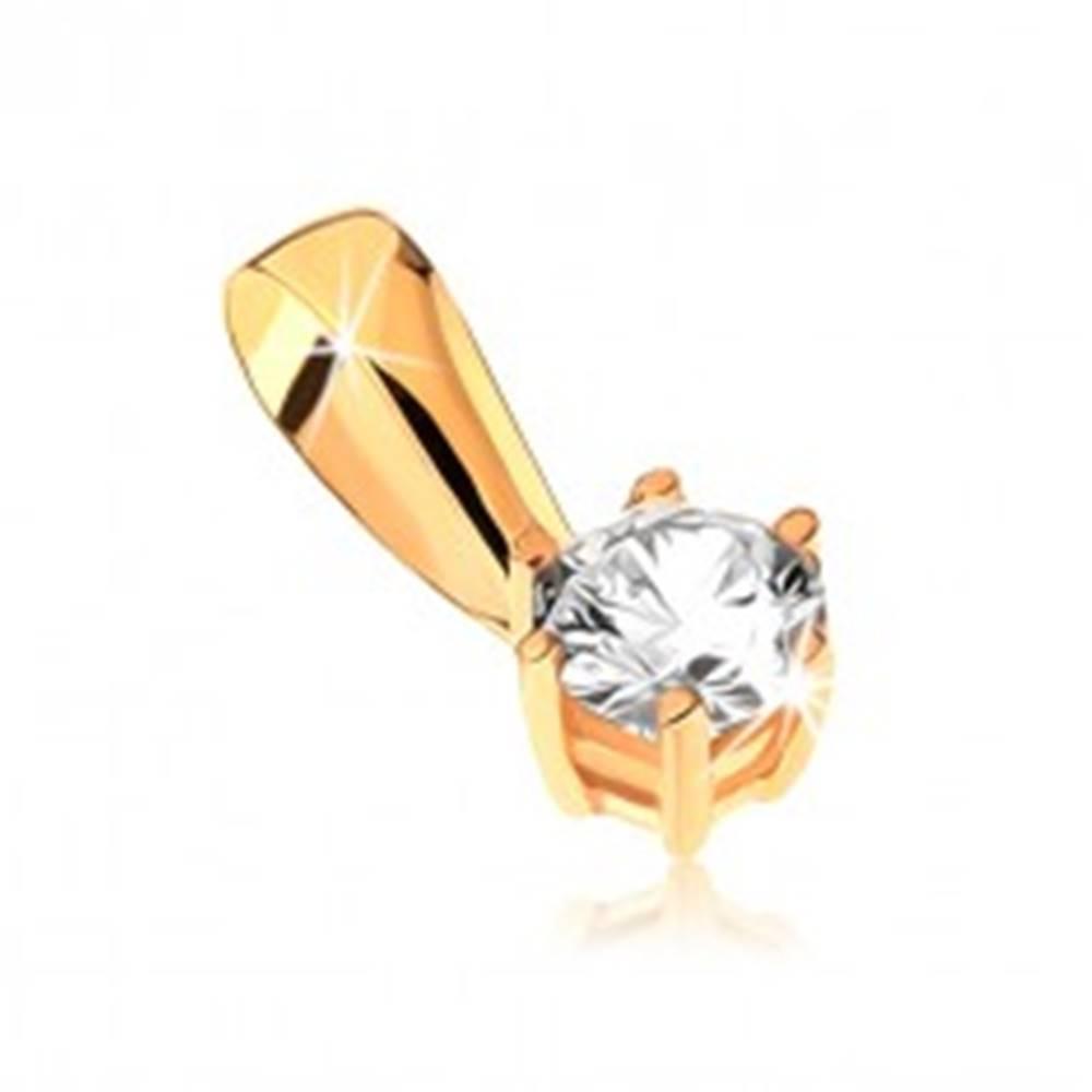 Šperky eshop Zlatý prívesok 375 - okrúhly zirkón v ozdobnom kotlíku s paličkami