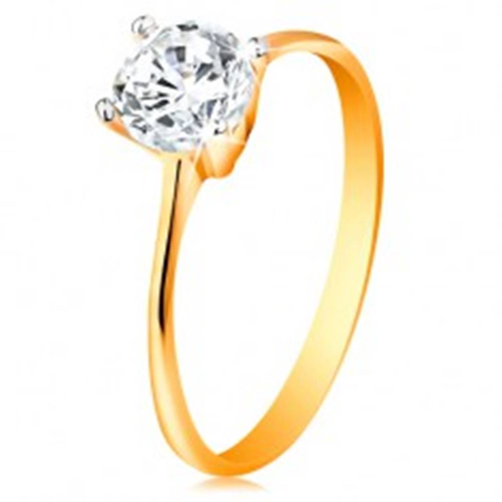 Šperky eshop Zlatý prsteň 14K - zúžené ramená, žiarivý číry zirkón v lesklom kotlíku - Veľkosť: 49 mm