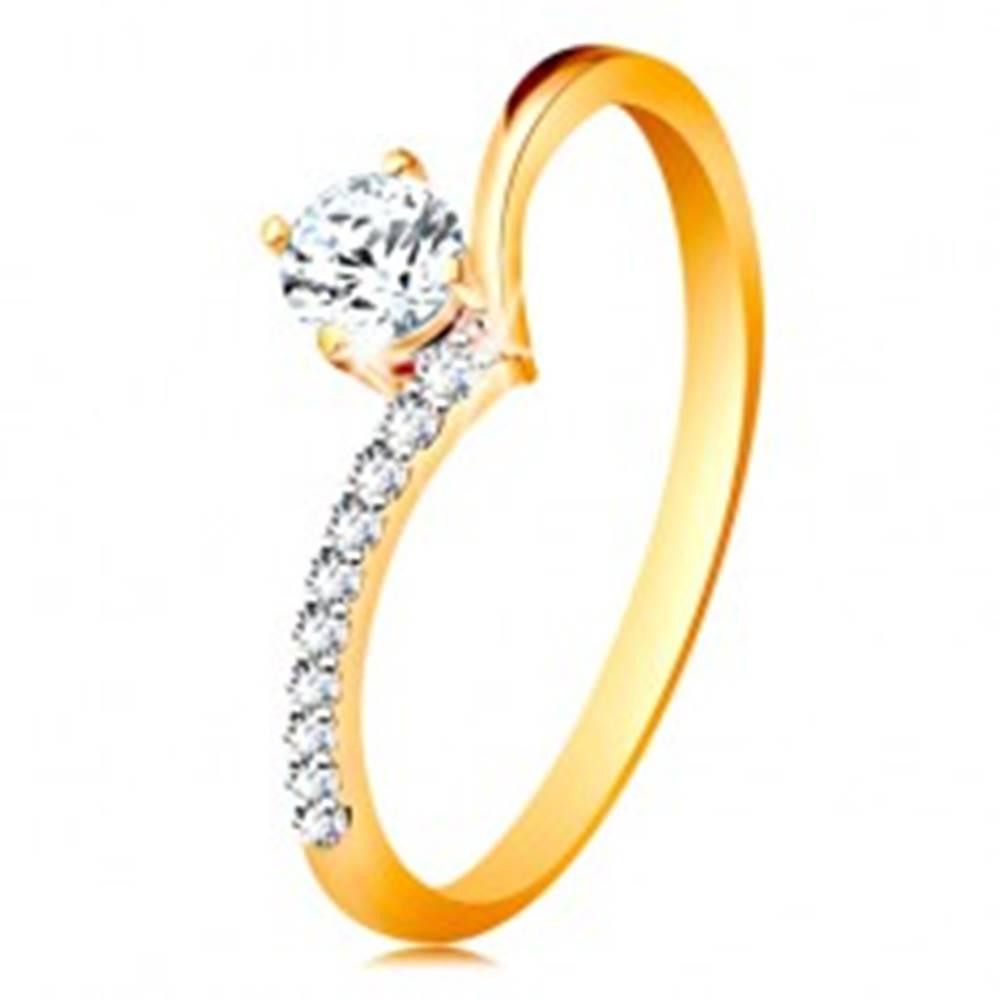 Šperky eshop Zlatý prsteň 585 - ramená zahnuté do špica a zirkón čírej farby v kotlíku - Veľkosť: 48 mm