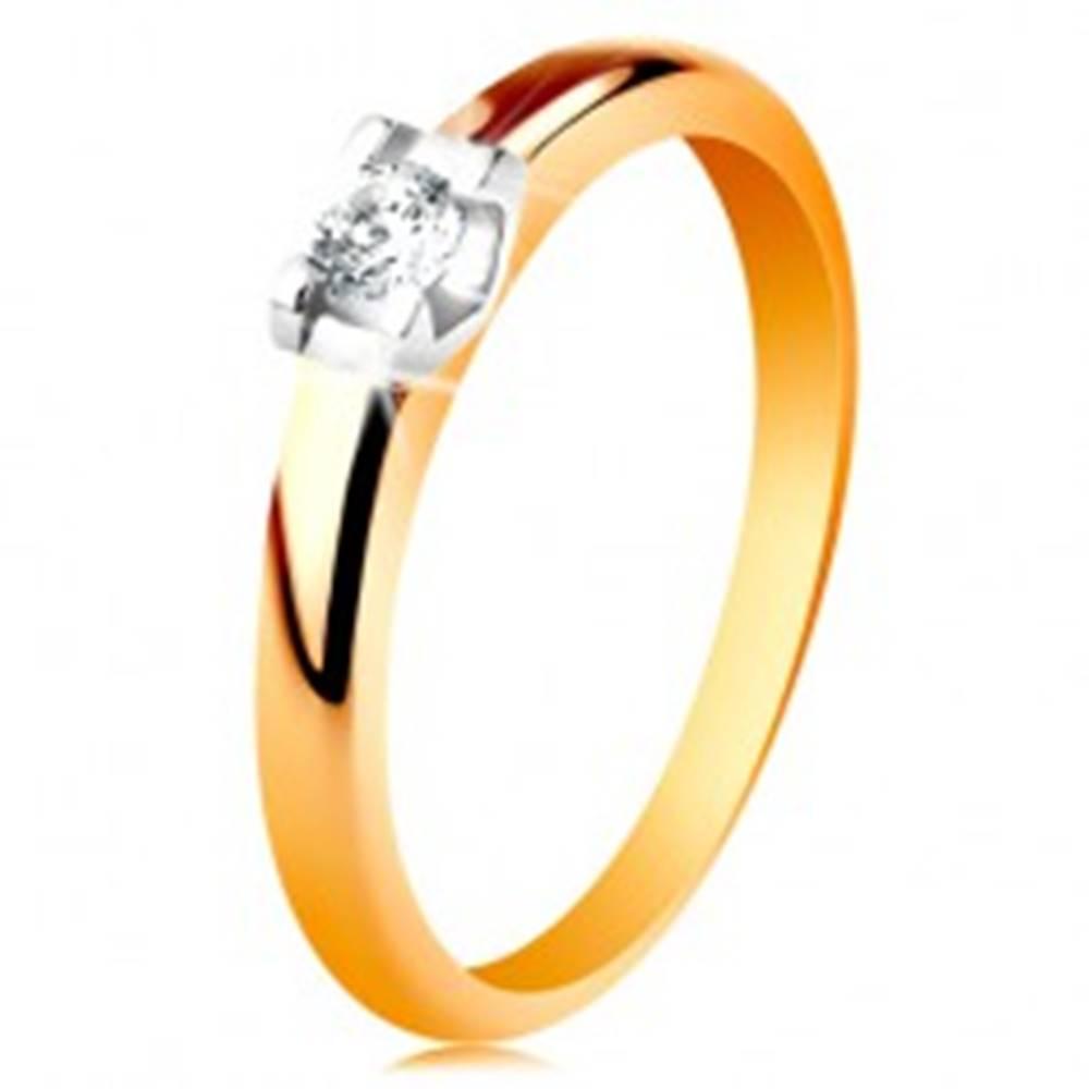 Šperky eshop Zlatý prsteň 585 - zaoblené ramená, okrúhly číry zirkón v kotlíku z bieleho zlata - Veľkosť: 49 mm
