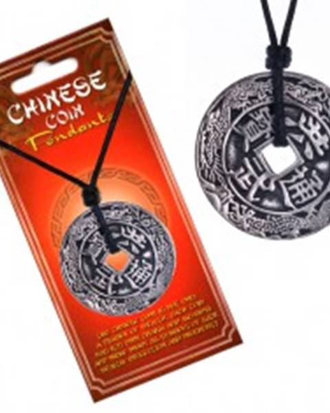 Šperky eshop Náhrdelník so šnúrkou, čínska minca, ornamenty a znaky