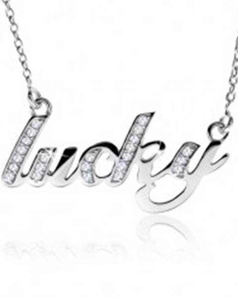 """Šperky eshop Náhrdelník zo striebra 925, nápis """"lucky"""" zdobený čírymi kamienkami"""