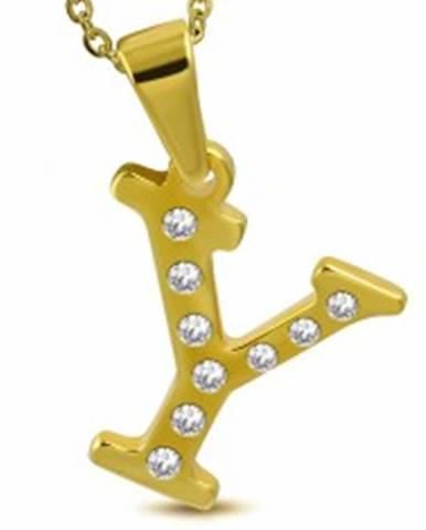 Prívesok z ocele 316L v zlatej farbe, tlačené písmeno Y, ligotavé číre zirkóny