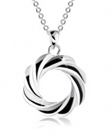 Strieborný náhrdelník 925, obrys kruhu so zatočenými líniami - veniec