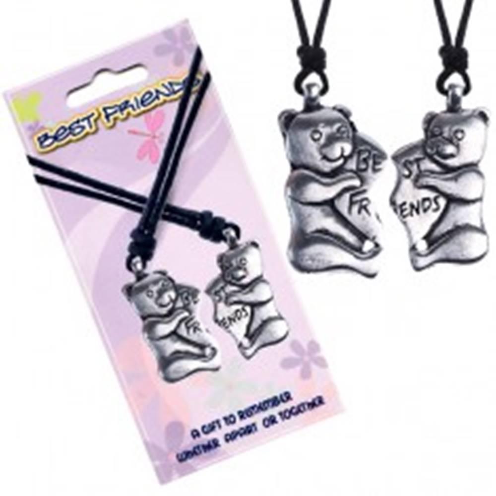 Šperky eshop BEST FRIENDS šnúrkové náhrdelníky, mackovia, srdce