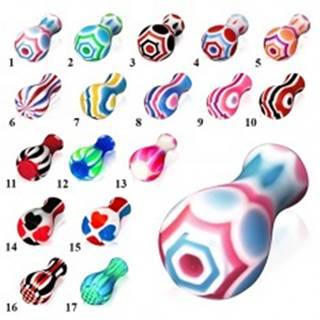 Akrylový plug do ucha, na jednom konci rozšírený, rôzne farby a vzory - Motívy: 01.