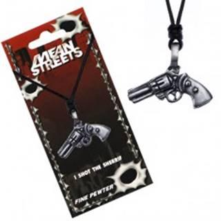 Čierny náhrdelník na šnúrke – prívesok, revolver