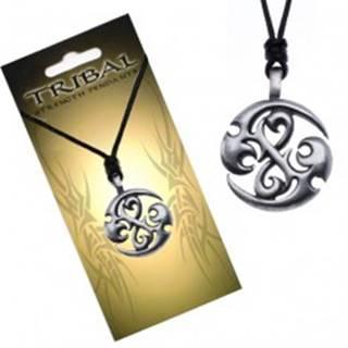 Čierny náhrdelník, TRIBAL prívesok - kruh s dračími špirálami