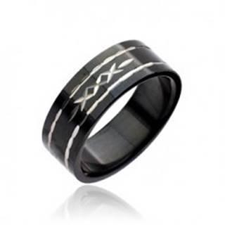 Čierny prsteň z ocele - vyryté krížiky - Veľkosť: 48 mm