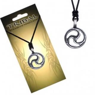 Čierny šnúrkový náhrdelník, TRIBAL prívesok, výrezy sĺz