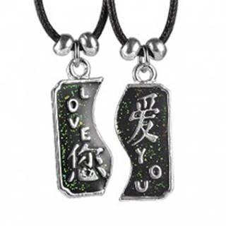 Dvojdielny náhrdelník LOVE YOU s čínskymi znakmi