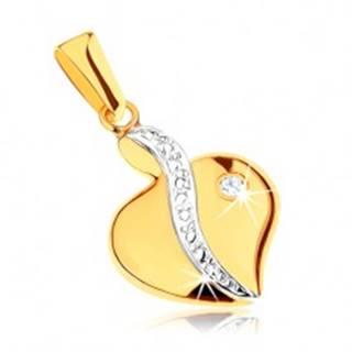 Dvojfarebný prívesok z 9K zlata - asymetrické srdce, gravírovaná línia, číry zirkón