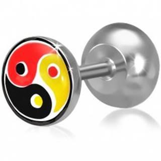 Fake plug do ucha z ocele, farebný Yin-Yang motív