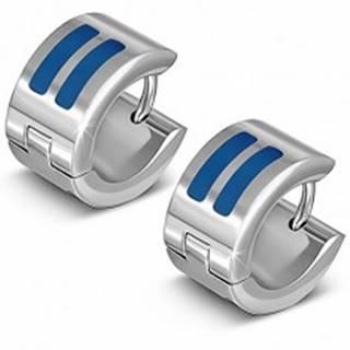 Lesklé náušnice striebornej farby z ocele, kruhy s modrými pásmi